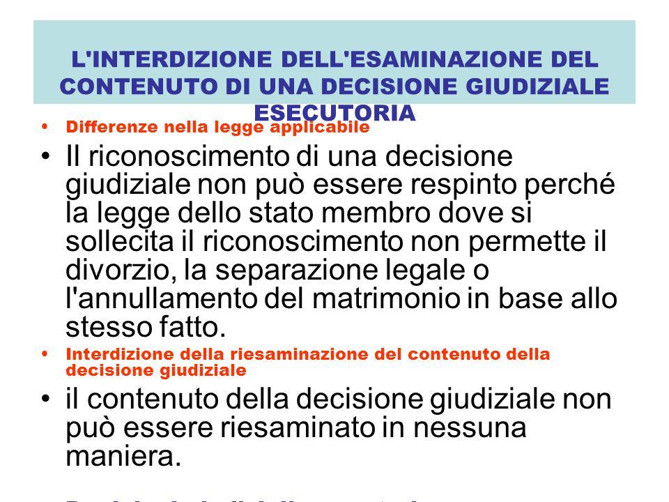 L'INTERDIZIONE DELL'ESAMINAZIONE DEL CONTENUTO DI UNA DECISIONE GIUDIZIALE ESECUTORIA Differenze nella legge applicabile Il riconoscimento di una deci