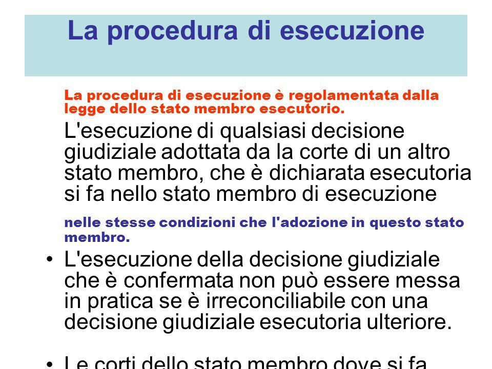 La procedura di esecuzione La procedura di esecuzione è regolamentata dalla legge dello stato membro esecutorio.
