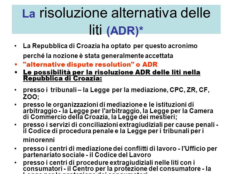 La risoluzione alternativa delle liti (ADR)* La Repubblica di Croazia ha optato per questo acronimo perché la nozione è stata generalmente accettata