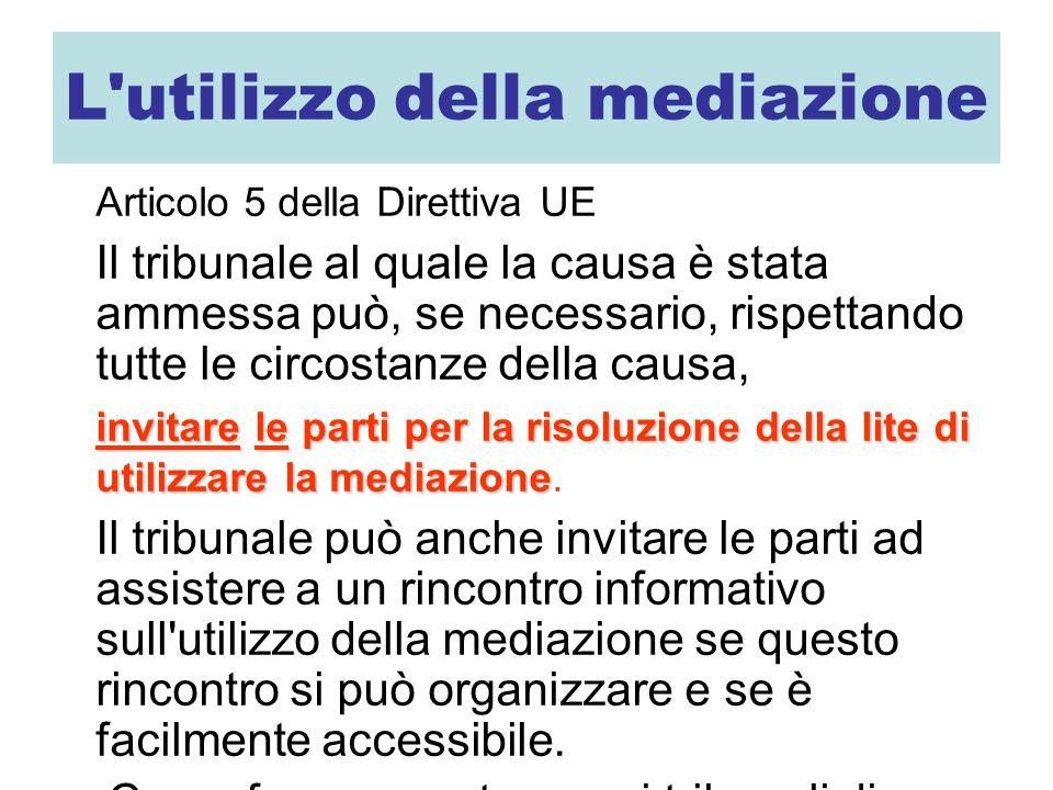 L'utilizzo della mediazione Articolo 5 della Direttiva UE Il tribunale al quale la causa è stata ammessa può, se necessario, rispettando tutte le circ