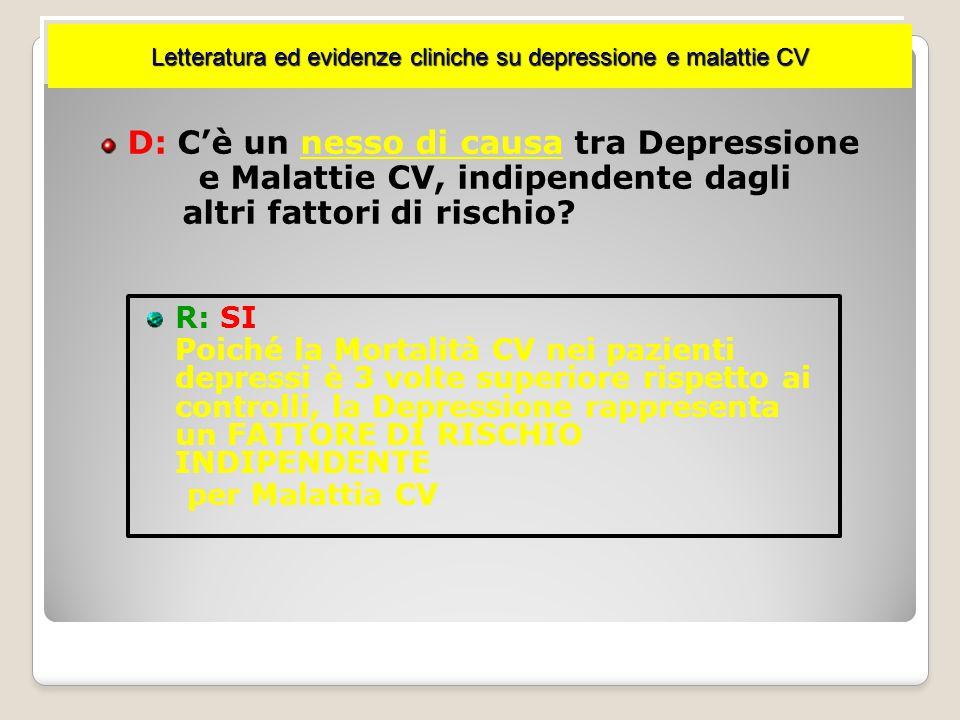 Letteratura ed evidenze cliniche su depressione e malattie CV D: Qual è la prevalenza di depressione nei pazienti affetti da IMA nella fase iniziale del ricovero ospedaliero.