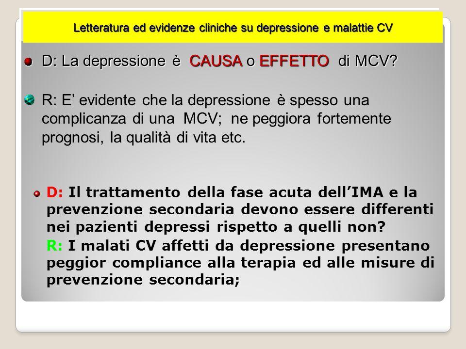 D: I pazienti depressi dopo Evento CV presentano prognosi migliore se trattati efficacemente per la depressione? R: EVIDENZE FORTI : 1.Il trattamento