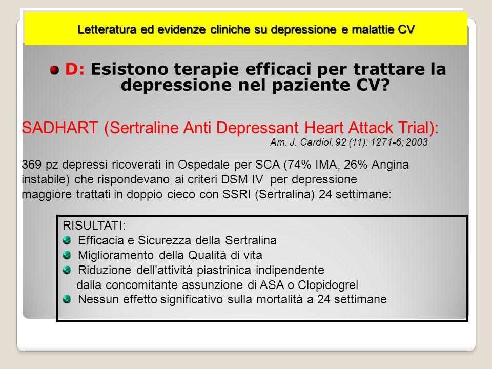 La depressione determina peggioramento della qualità di vita dopo IMA : Ritorno al lavoro Ripresa funzioni sociali/pubbliche Attività e soddisfazione