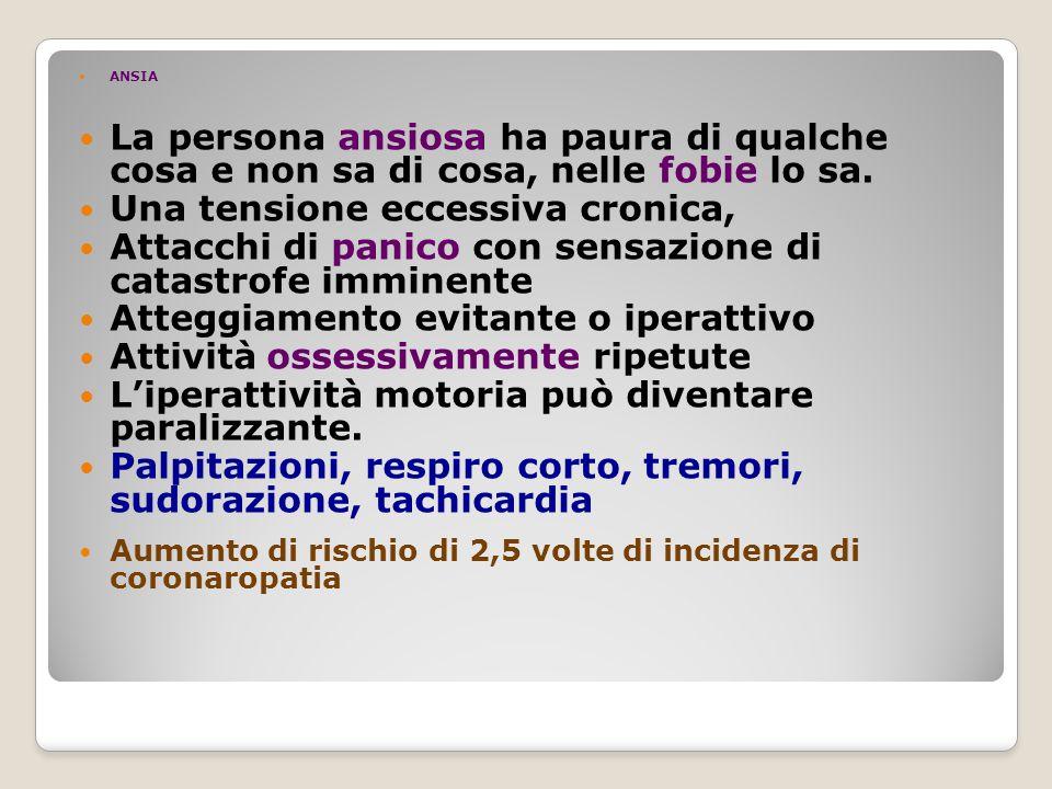 ANSIA La persona ansiosa ha paura di qualche cosa e non sa di cosa, nelle fobie lo sa.