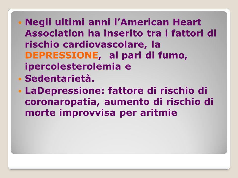 Negli ultimi anni l'American Heart Association ha inserito tra i fattori di rischio cardiovascolare, la DEPRESSIONE, al pari di fumo, ipercolesterolemia e Sedentarietà.