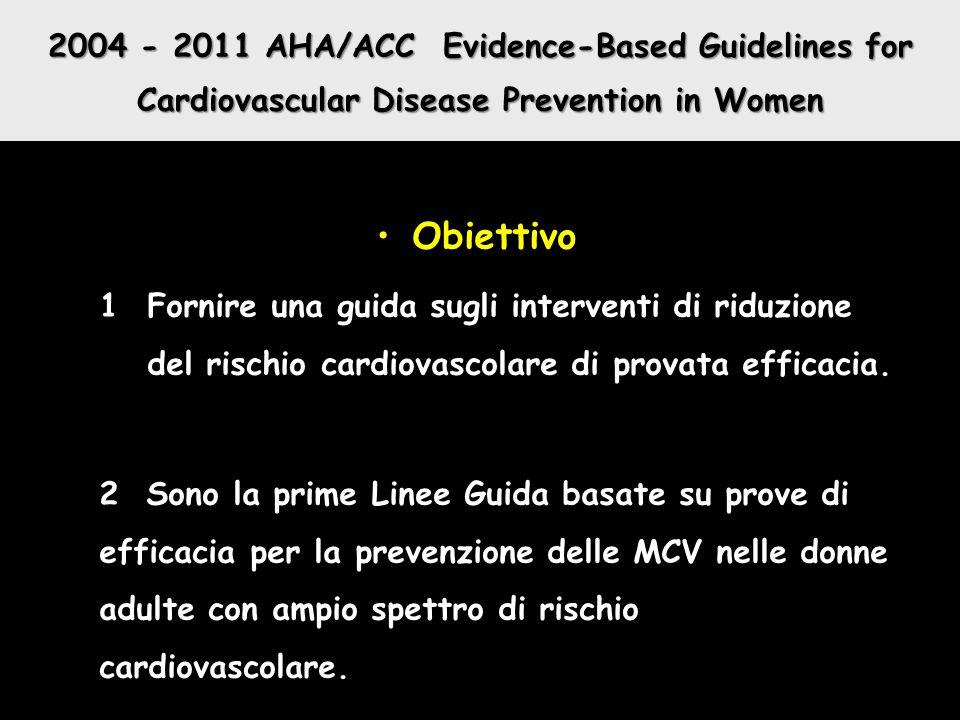 2004 - 2011 AHA/ACC Evidence-Based Guidelines for Cardiovascular Disease Prevention in Women Obiettivo 1Fornire una guida sugli interventi di riduzion