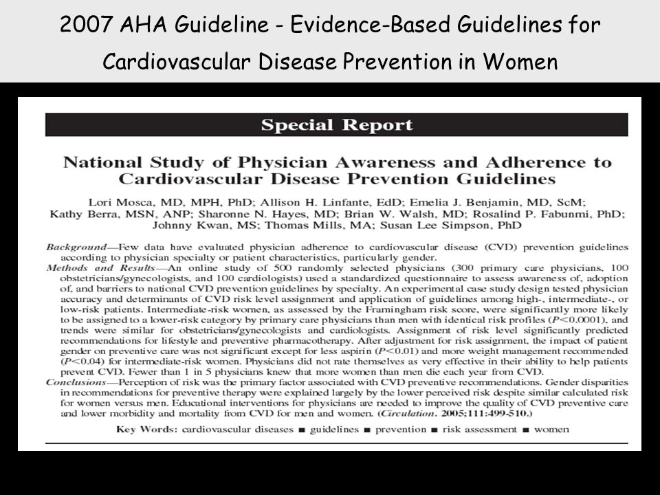 2007 AHA Guideline - Evidence-Based Guidelines for Cardiovascular Disease Prevention in Women