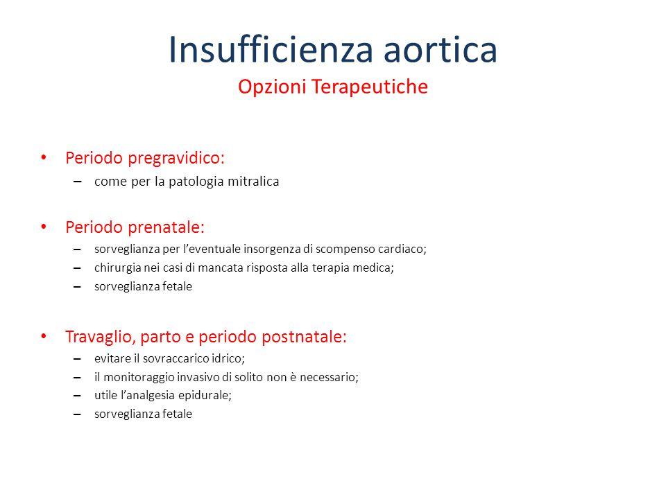 Insufficienza aortica Opzioni Terapeutiche Periodo pregravidico: – come per la patologia mitralica Periodo prenatale: – sorveglianza per l'eventuale i