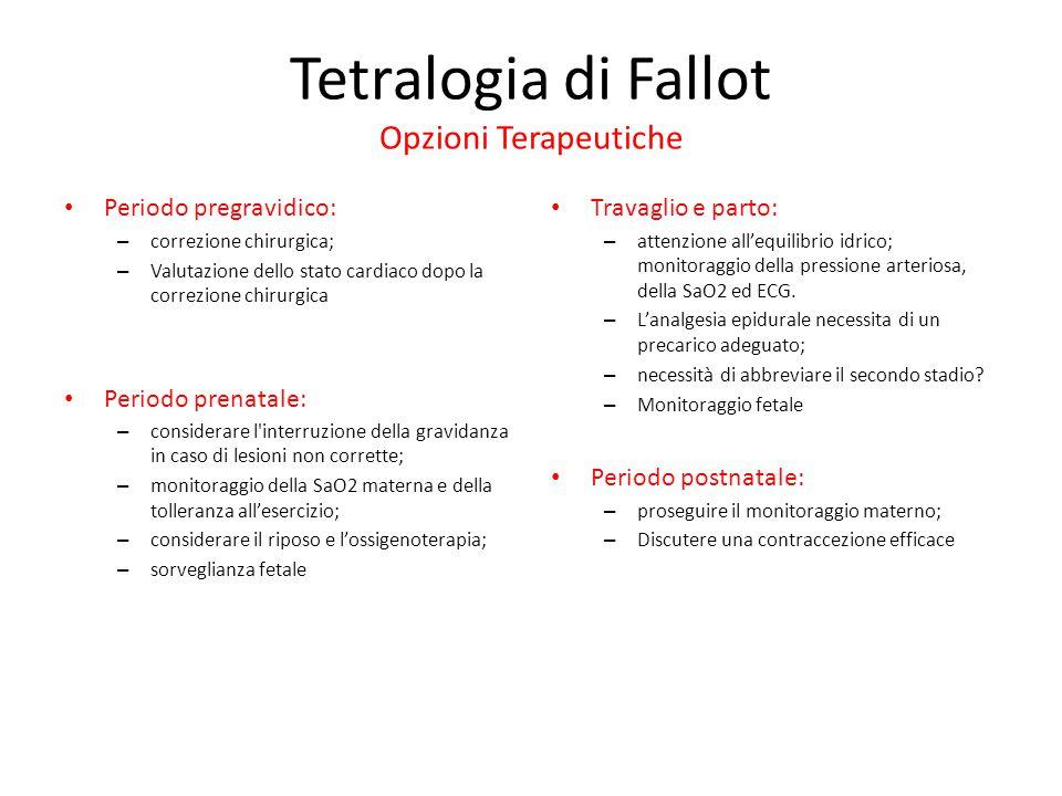Tetralogia di Fallot Opzioni Terapeutiche Periodo pregravidico: – correzione chirurgica; – Valutazione dello stato cardiaco dopo la correzione chirurg