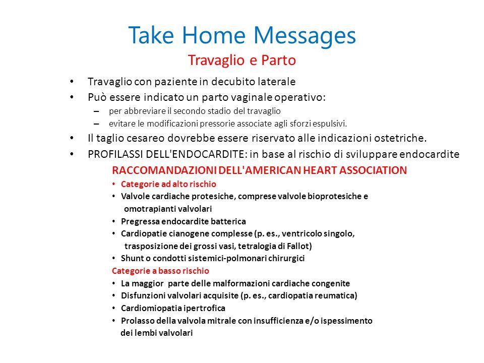 Take Home Messages Travaglio e Parto Travaglio con paziente in decubito laterale Può essere indicato un parto vaginale operativo: – per abbreviare il