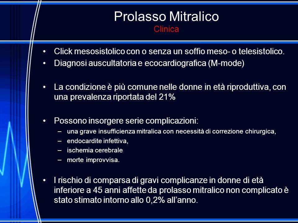 Prolasso Mitralico Clinica Click mesosistolico con o senza un soffio meso- o telesistolico. Diagnosi auscultatoria e ecocardiografica (M-mode) La cond