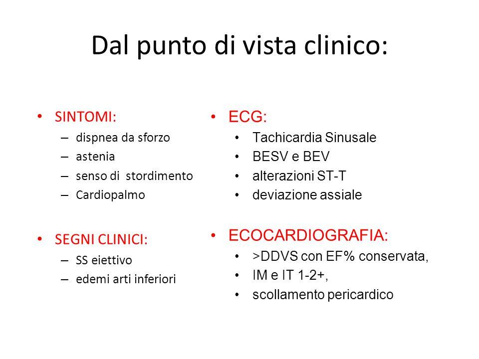 Dal punto di vista clinico: SINTOMI: – dispnea da sforzo – astenia – senso di stordimento – Cardiopalmo SEGNI CLINICI: – SS eiettivo – edemi arti infe