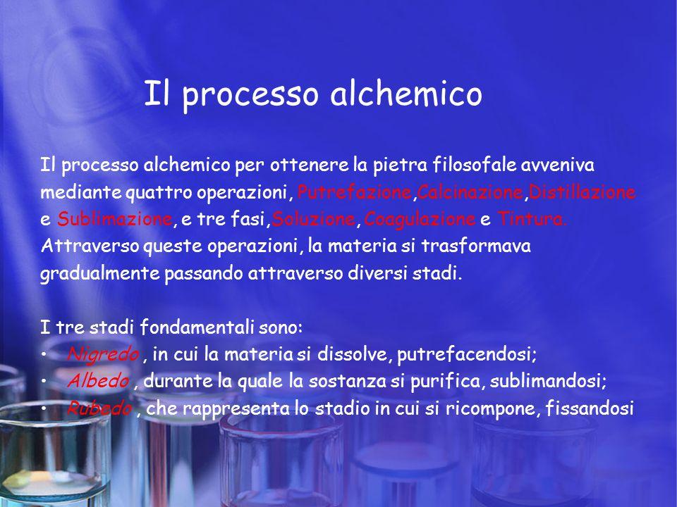 Il processo alchemico Il processo alchemico per ottenere la pietra filosofale avveniva mediante quattro operazioni, Putrefazione,Calcinazione,Distilla