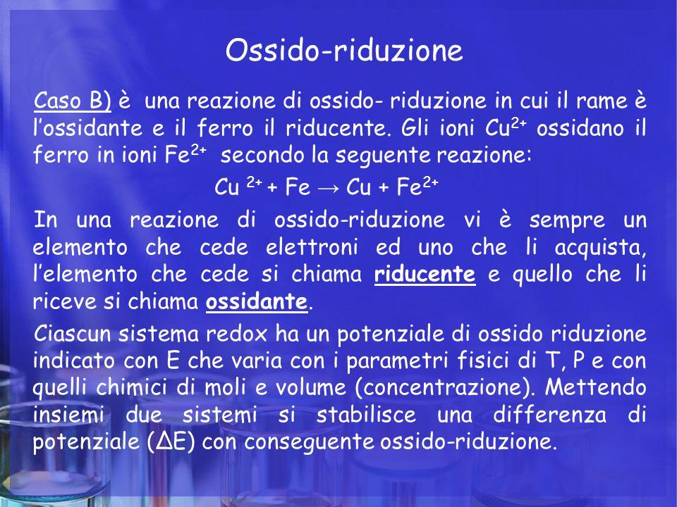 Ossido-riduzione Caso B) è una reazione di ossido- riduzione in cui il rame è l'ossidante e il ferro il riducente. Gli ioni Cu 2+ ossidano il ferro in