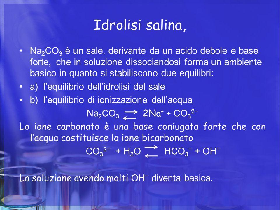 Idrolisi salina, Na 2 CO 3 è un sale, derivante da un acido debole e base forte, che in soluzione dissociandosi forma un ambiente basico in quanto si