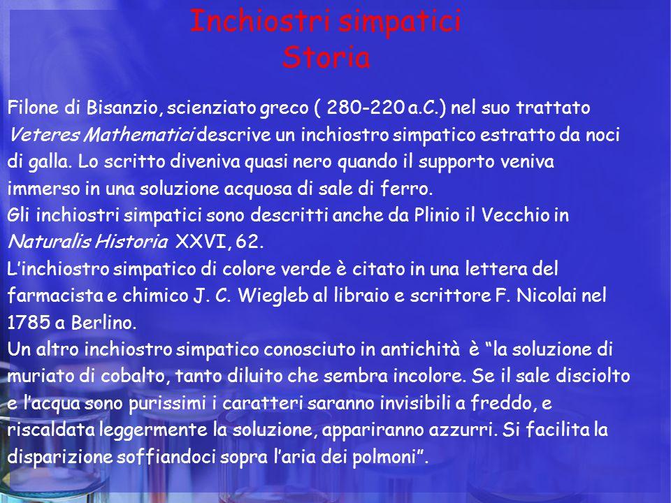 Inchiostri simpatici Storia Filone di Bisanzio, scienziato greco ( 280-220 a.C.) nel suo trattato Veteres Mathematici descrive un inchiostro simpatico