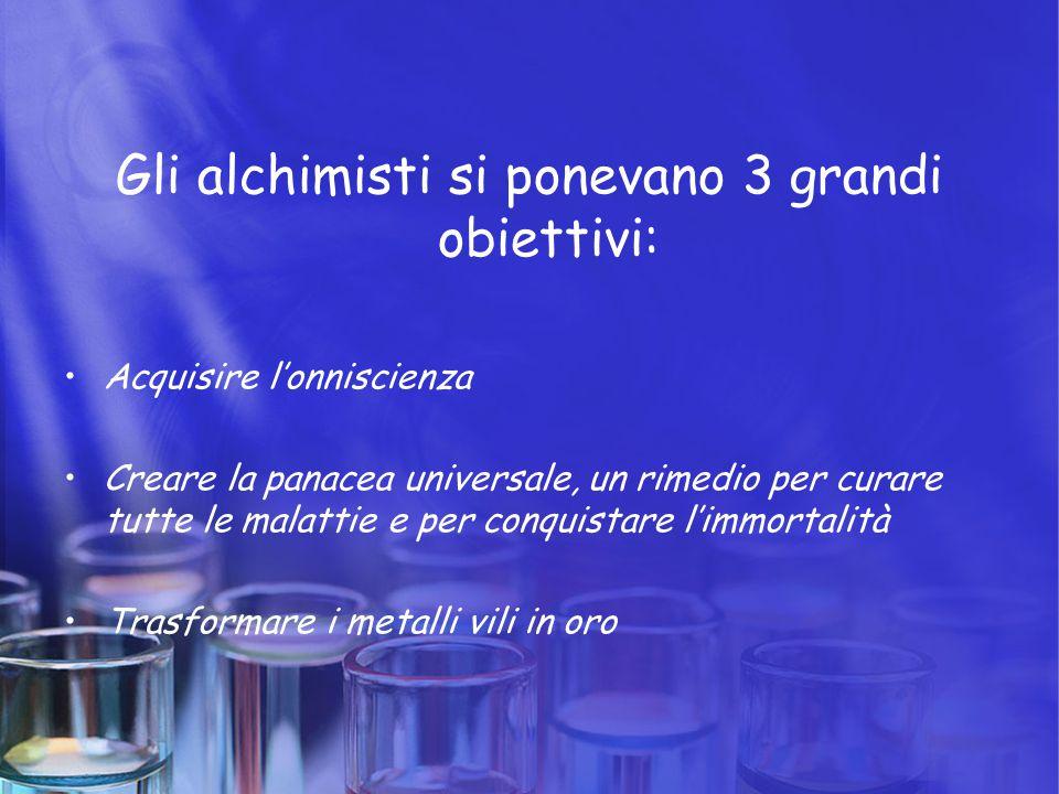 Gli alchimisti si ponevano 3 grandi obiettivi: Acquisire l'onniscienza Creare la panacea universale, un rimedio per curare tutte le malattie e per con