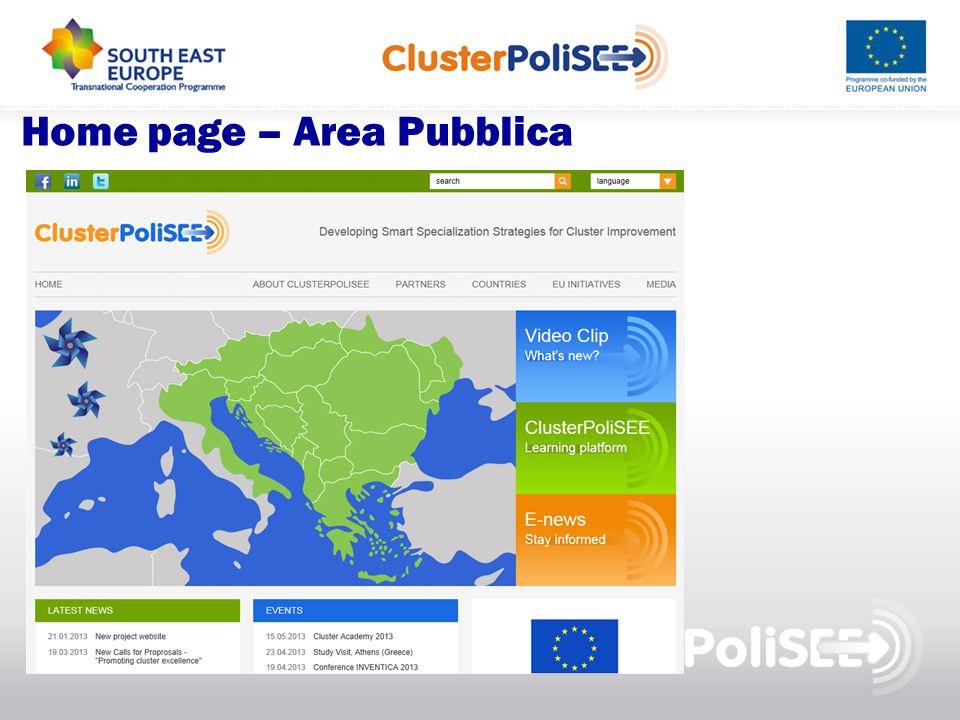 Home page – Area Pubblica