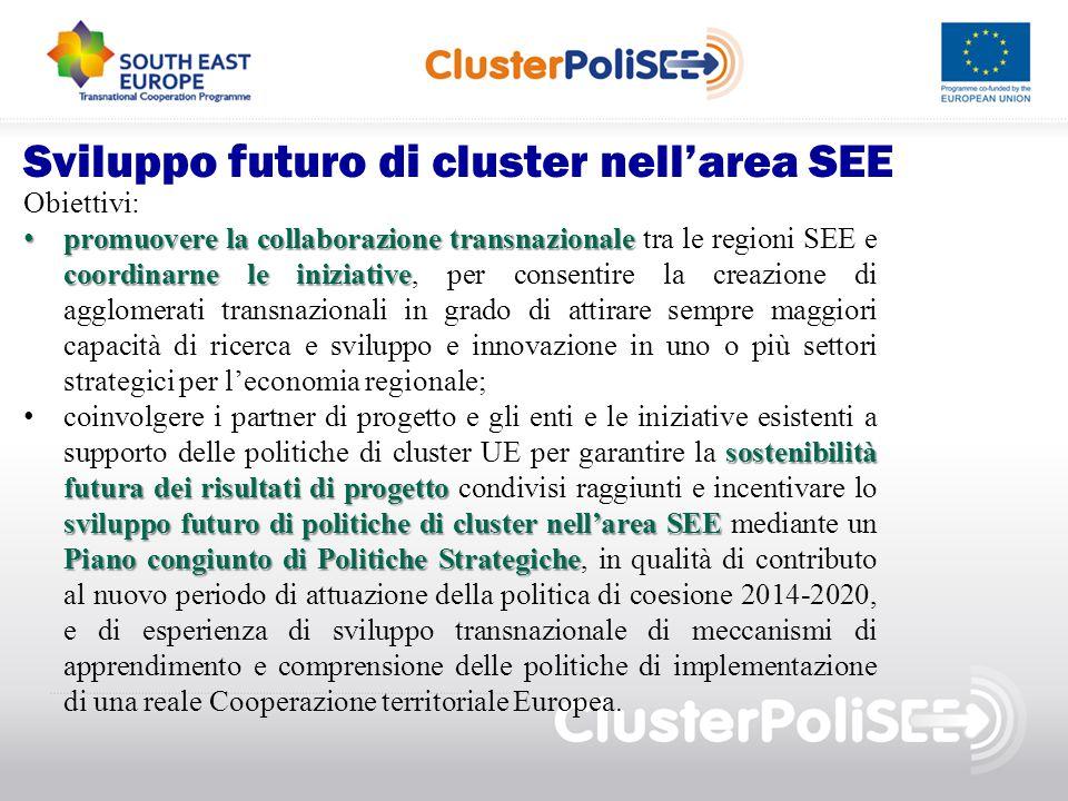Sviluppo futuro di cluster nell'area SEE Obiettivi: promuovere la collaborazione transnazionale coordinarne le iniziative promuovere la collaborazione
