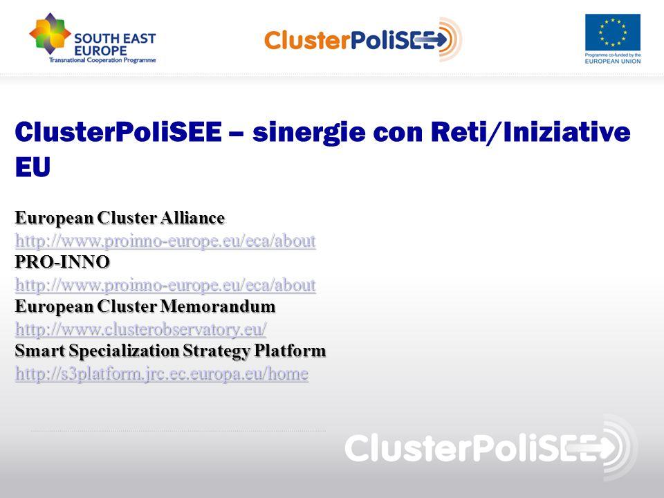 ClusterPoliSEE – sinergie con Reti/Iniziative EU European Cluster Alliance http://www.proinno-europe.eu/eca/about PRO-INNO European Cluster Memorandum http://www.clusterobservatory.eu/ Smart Specialization Strategy Platform http://s3platform.jrc.ec.europa.eu/home