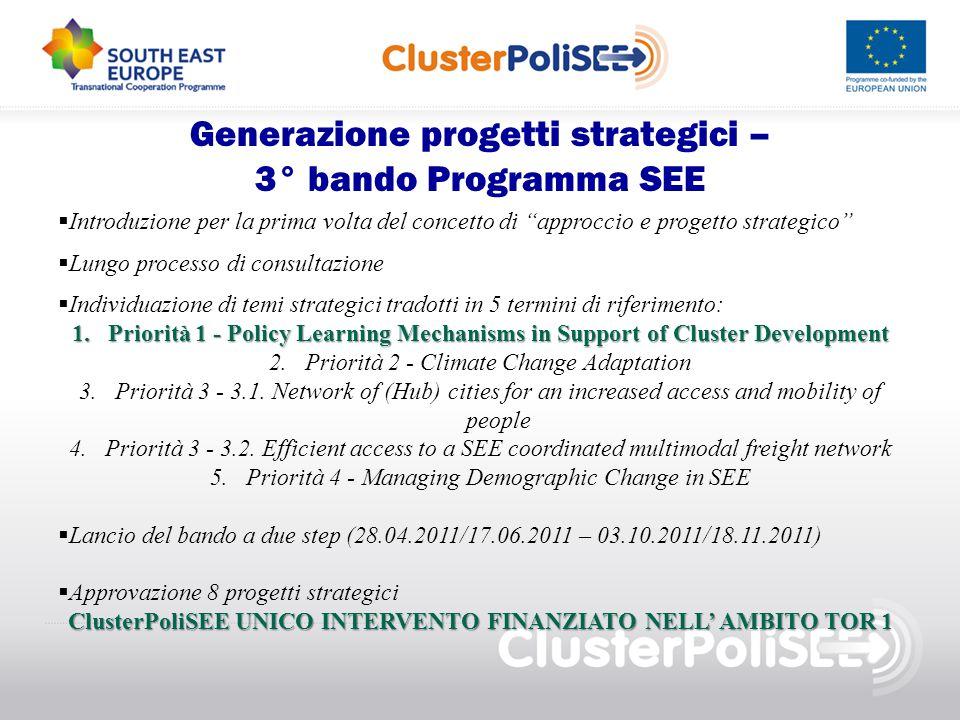 """Generazione progetti strategici – 3° bando Programma SEE  Introduzione per la prima volta del concetto di """"approccio e progetto strategico""""  Lungo p"""