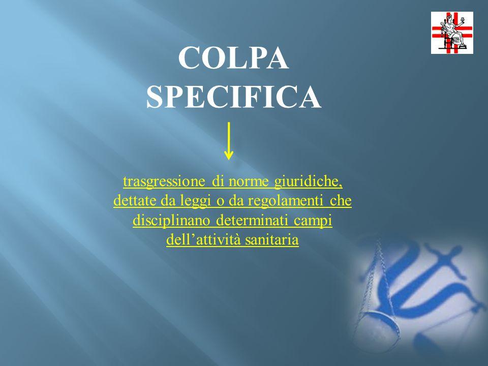 COLPA SPECIFICA trasgressione di norme giuridiche, dettate da leggi o da regolamenti che disciplinano determinati campi dell'attività sanitaria