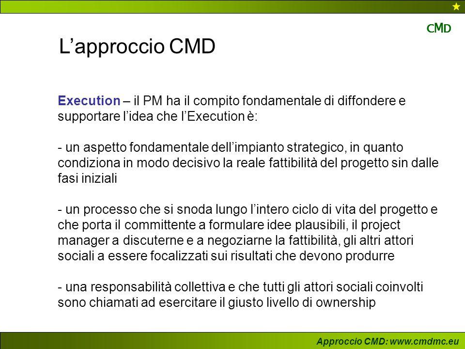 Approccio CMD: www.cmdmc.eu CMDCMD L'approccio CMD Execution – il PM ha il compito fondamentale di diffondere e supportare l'idea che l'Execution è: -