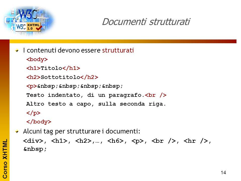 Corso XHTML 14 Documenti strutturati I contenuti devono essere strutturati Titolo Sottotitolo Testo indentato, di un paragrafo. Altro testo a capo, su