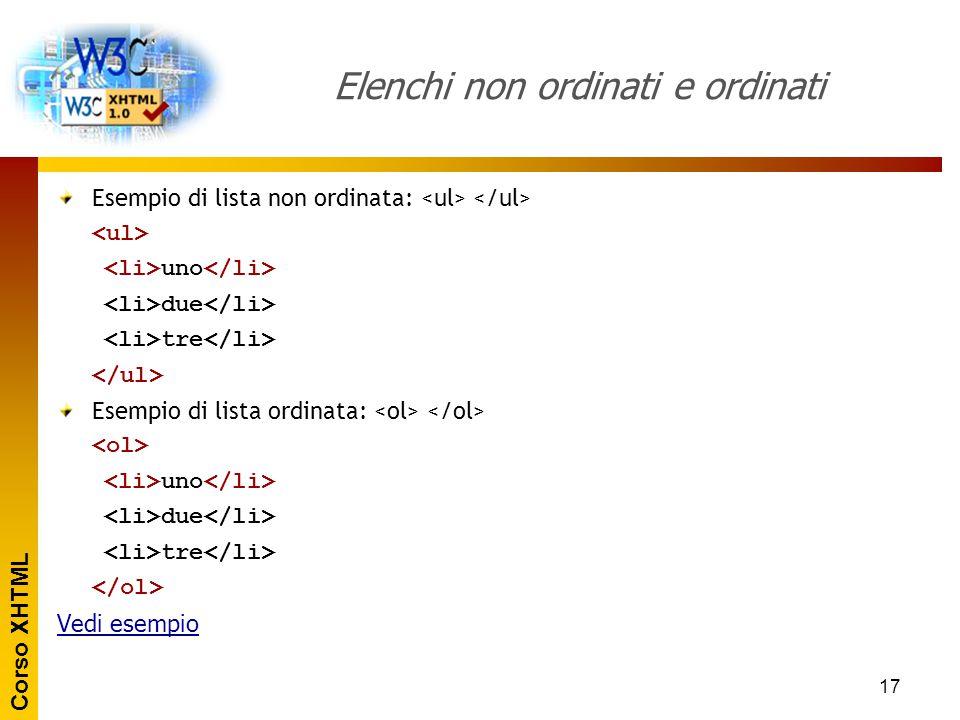 Corso XHTML 18 Lista di termini Una lista di termini prevede più tag: tag di lista.