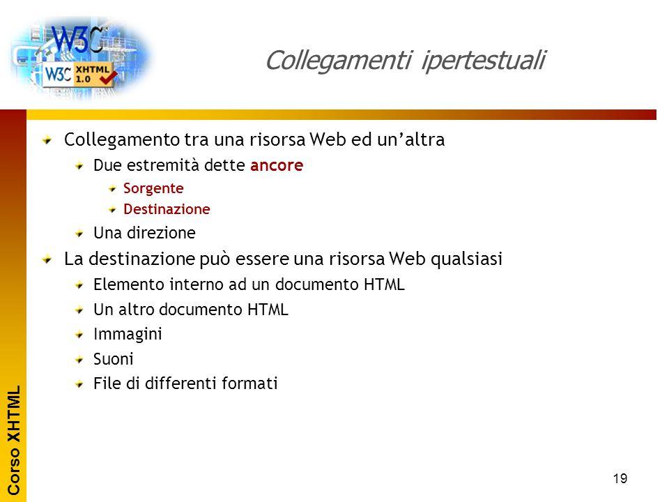 Corso XHTML 19 Collegamenti ipertestuali Collegamento tra una risorsa Web ed un'altra Due estremità dette ancore Sorgente Destinazione Una direzione L
