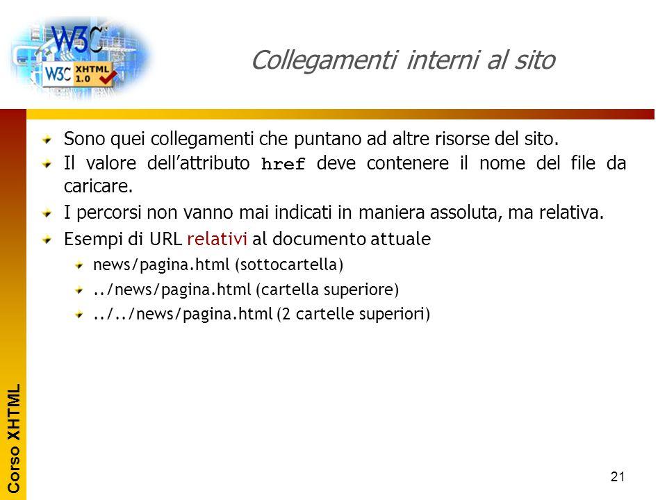 Corso XHTML 21 Collegamenti interni al sito Sono quei collegamenti che puntano ad altre risorse del sito. Il valore dell'attributo href deve contenere
