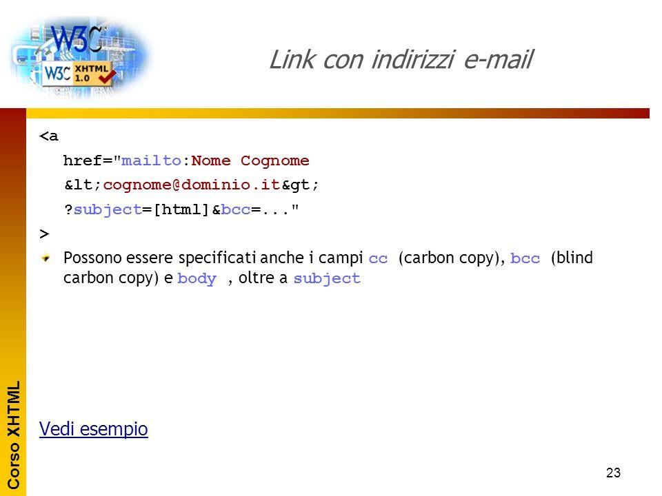 Corso XHTML 23 Link con indirizzi e-mail <a href=