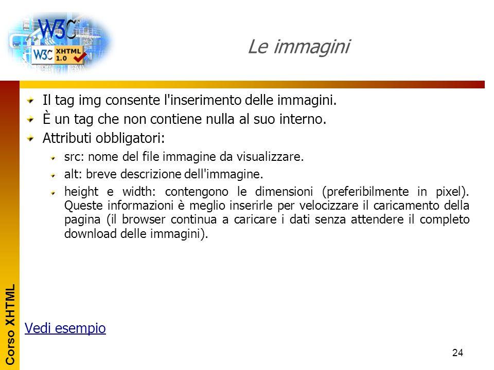 Corso XHTML 24 Le immagini Il tag img consente l'inserimento delle immagini. È un tag che non contiene nulla al suo interno. Attributi obbligatori: sr
