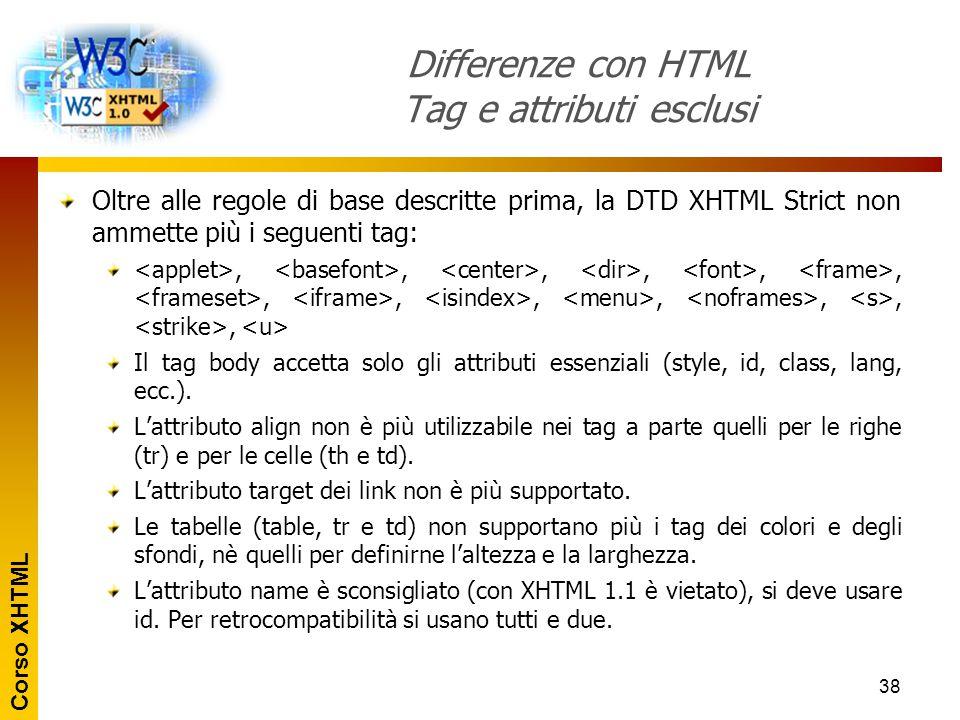 Corso XHTML 38 Differenze con HTML Tag e attributi esclusi Oltre alle regole di base descritte prima, la DTD XHTML Strict non ammette più i seguenti t