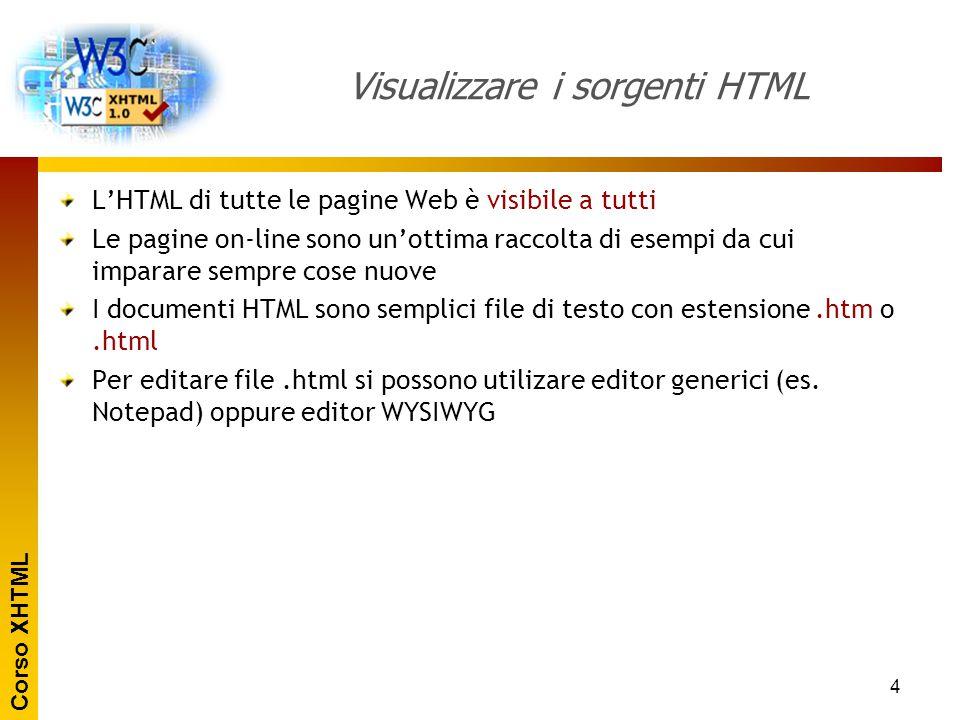 Corso XHTML 4 Visualizzare i sorgenti HTML L'HTML di tutte le pagine Web è visibile a tutti Le pagine on-line sono un'ottima raccolta di esempi da cui