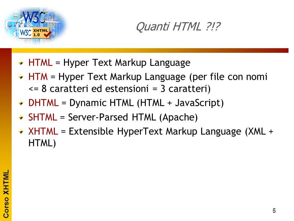 Corso XHTML 5 Quanti HTML ?!? HTML = Hyper Text Markup Language HTM = Hyper Text Markup Language (per file con nomi <= 8 caratteri ed estensioni = 3 c