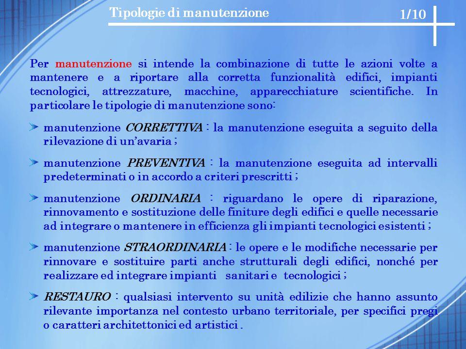 Tipologie di manutenzione Per manutenzione si intende la combinazione di tutte le azioni volte a mantenere e a riportare alla corretta funzionalità ed