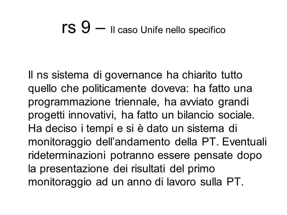 rs 9 – Il caso Unife nello specifico Il ns sistema di governance ha chiarito tutto quello che politicamente doveva: ha fatto una programmazione triennale, ha avviato grandi progetti innovativi, ha fatto un bilancio sociale.