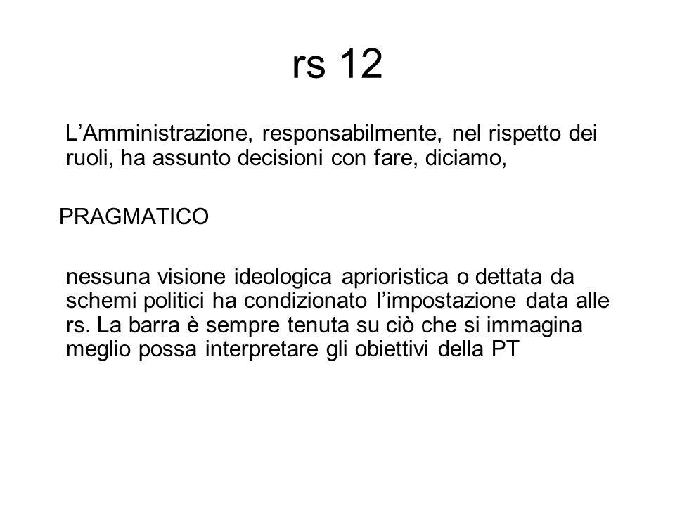 rs 12 L'Amministrazione, responsabilmente, nel rispetto dei ruoli, ha assunto decisioni con fare, diciamo, PRAGMATICO nessuna visione ideologica aprioristica o dettata da schemi politici ha condizionato l'impostazione data alle rs.