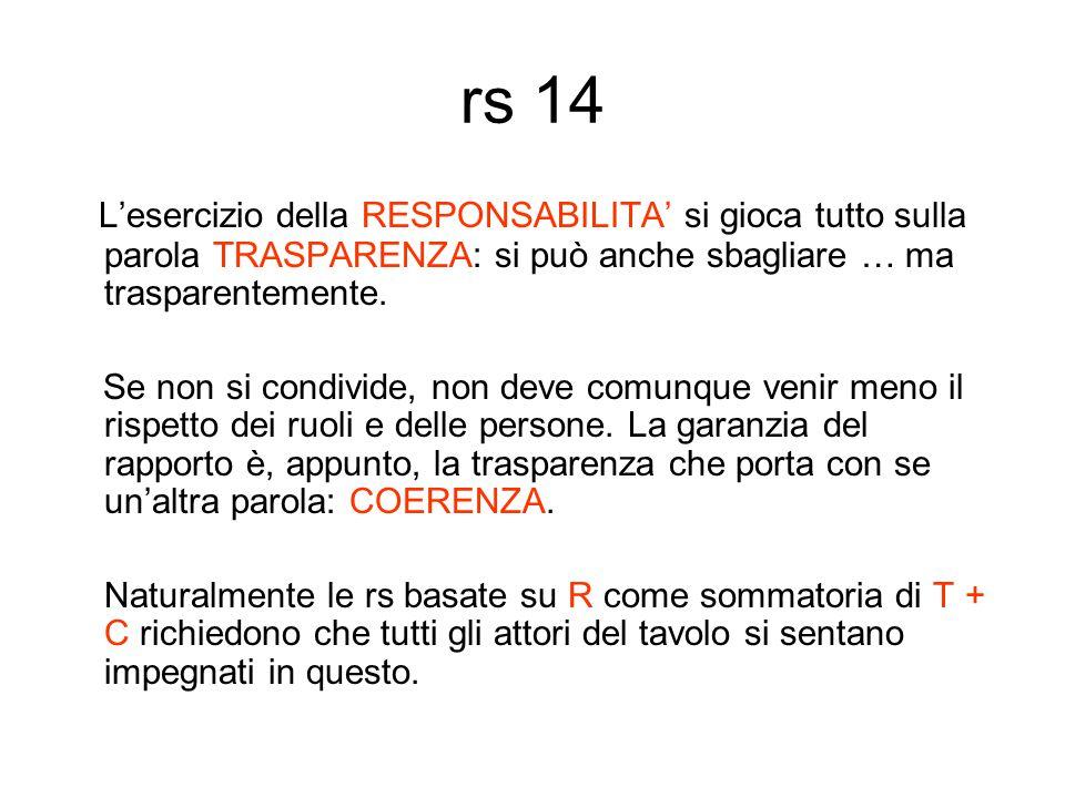 rs 14 L'esercizio della RESPONSABILITA' si gioca tutto sulla parola TRASPARENZA: si può anche sbagliare … ma trasparentemente.