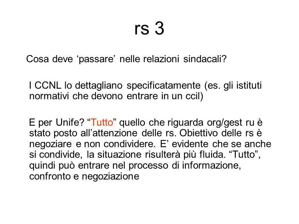 rs 3 Cosa deve 'passare' nelle relazioni sindacali.