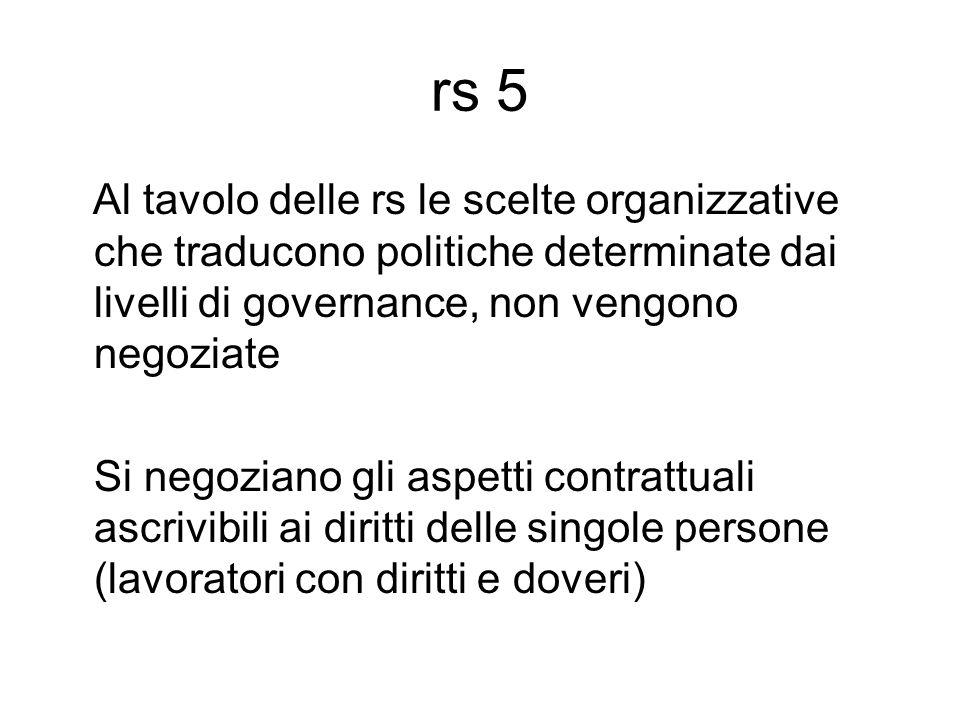 rs 5 Al tavolo delle rs le scelte organizzative che traducono politiche determinate dai livelli di governance, non vengono negoziate Si negoziano gli aspetti contrattuali ascrivibili ai diritti delle singole persone (lavoratori con diritti e doveri)