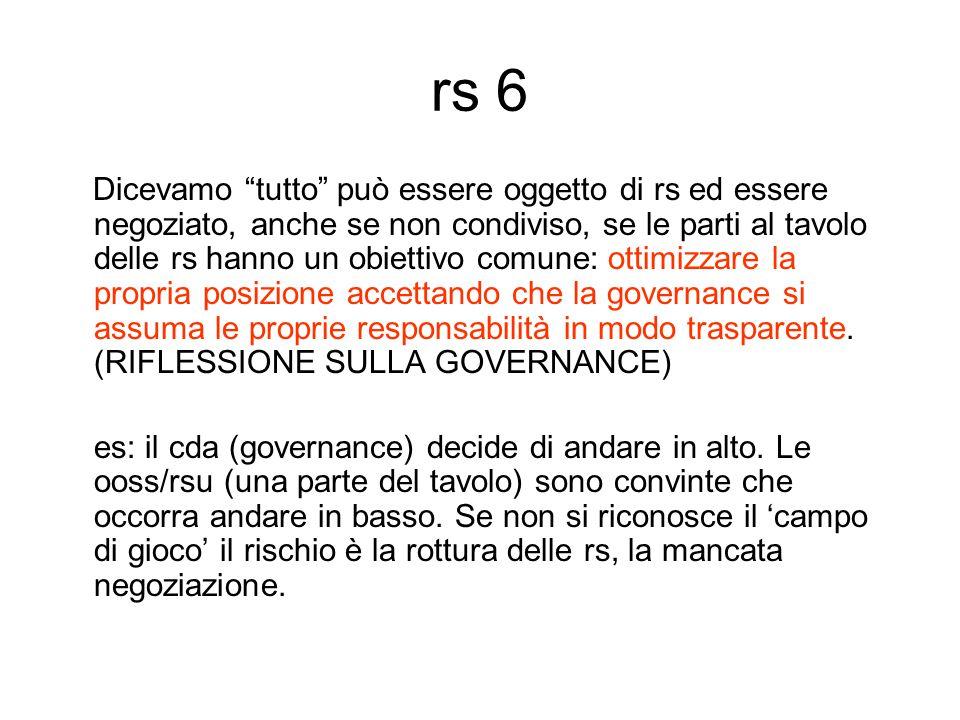 rs 6 Dicevamo tutto può essere oggetto di rs ed essere negoziato, anche se non condiviso, se le parti al tavolo delle rs hanno un obiettivo comune: ottimizzare la propria posizione accettando che la governance si assuma le proprie responsabilità in modo trasparente.