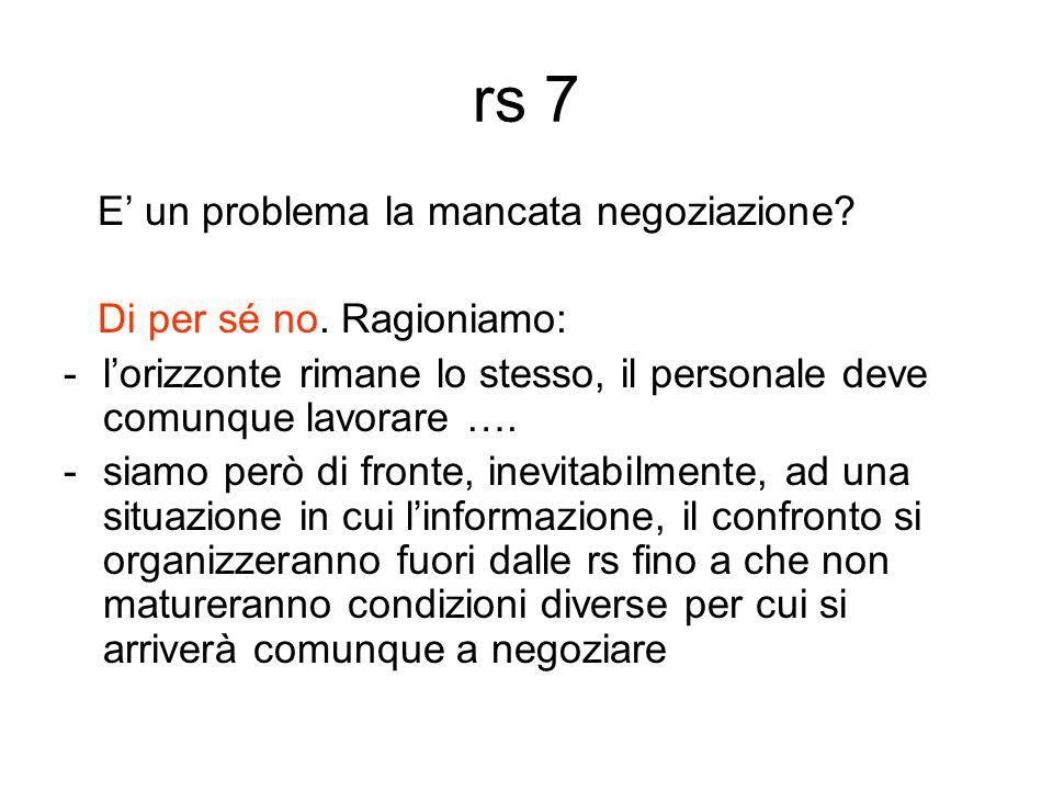 rs 7 E' un problema la mancata negoziazione. Di per sé no.