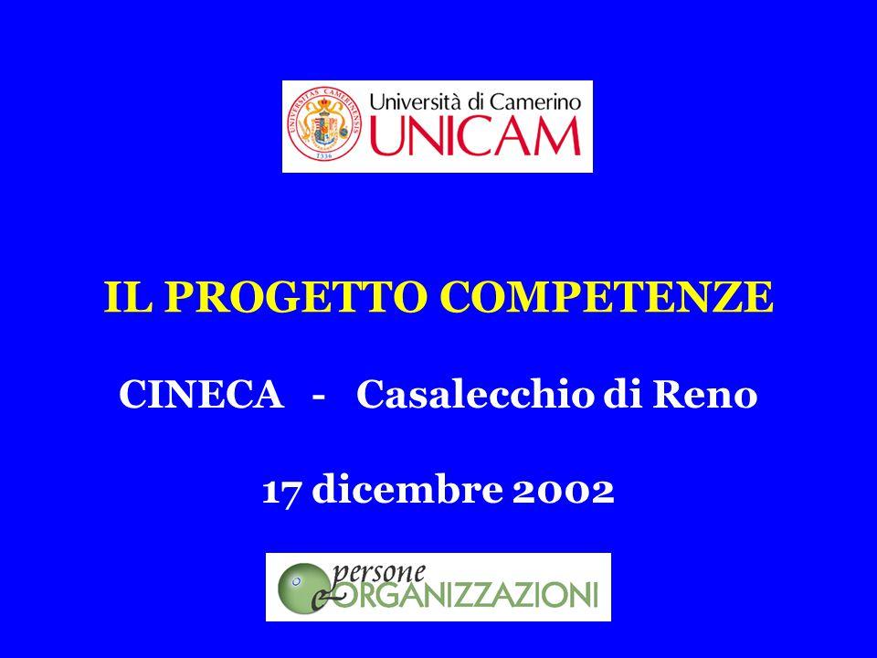 IL PROGETTO COMPETENZE 17 dicembre 2002 CINECA - Casalecchio di Reno