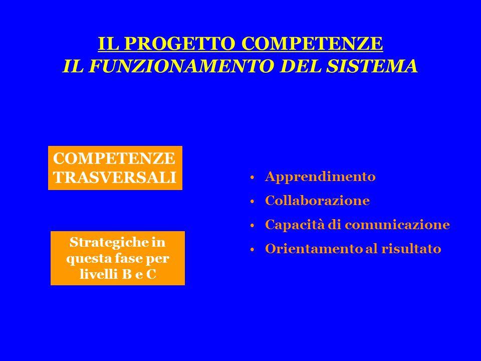 COMPETENZE TRASVERSALI Apprendimento Collaborazione Capacità di comunicazione Orientamento al risultato Strategiche in questa fase per livelli B e C