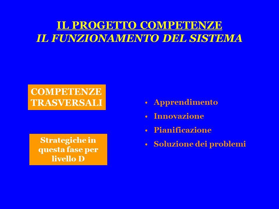 COMPETENZE TRASVERSALI Apprendimento Innovazione Pianificazione Soluzione dei problemi Strategiche in questa fase per livello D
