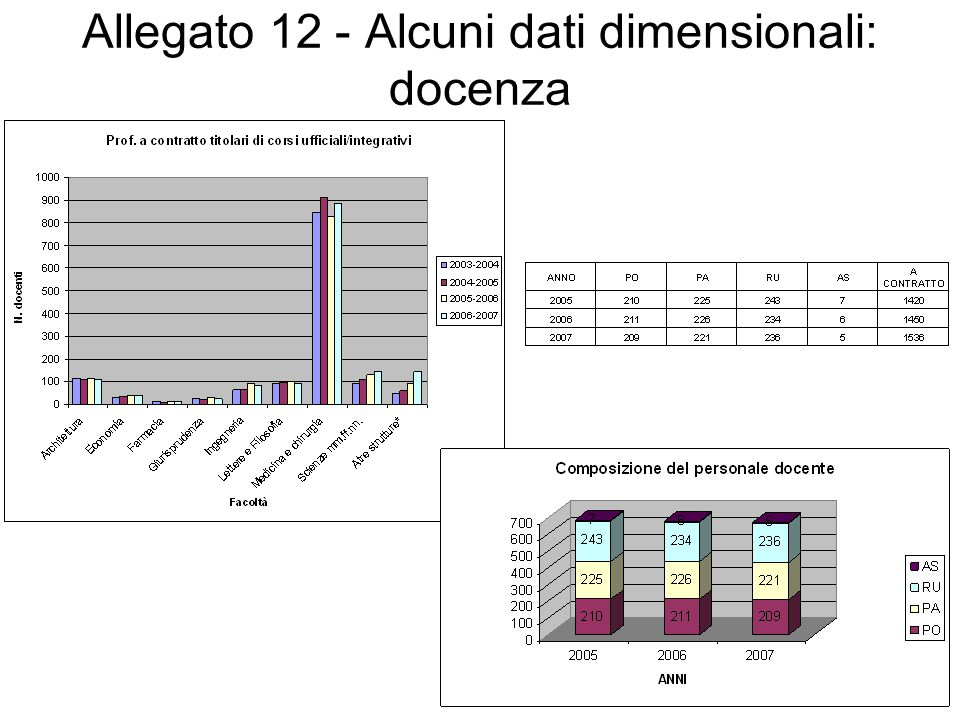 Allegato 12 - Alcuni dati dimensionali: docenza