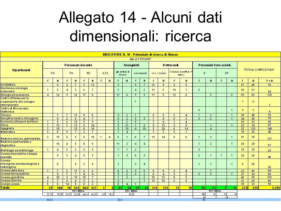 Allegato 14 - Alcuni dati dimensionali: ricerca