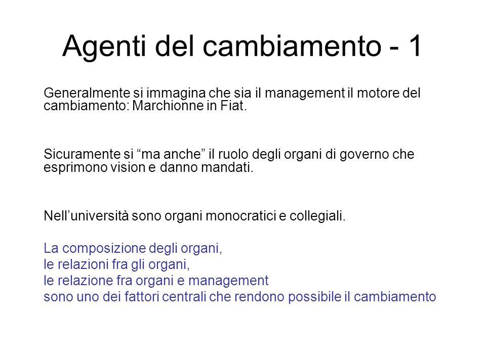 Agenti del cambiamento - 1 Generalmente si immagina che sia il management il motore del cambiamento: Marchionne in Fiat.
